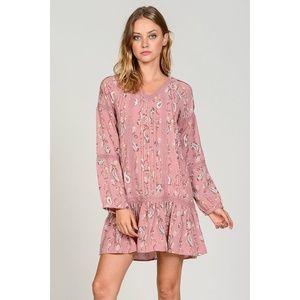 Drop Waist Lace Trim Dress In Paisley Print